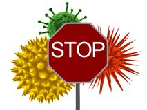 Virus warning. 3d rendered illustration of a red sign and different viruses Royalty Free Stock Image