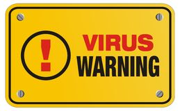 Virus warning yellow sign - rectangle sign Royalty Free Stock Photo