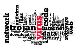 Virus word cloud concept Stock Image