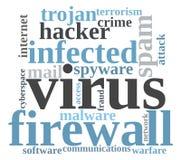 Virus word cloud Royalty Free Stock Photos