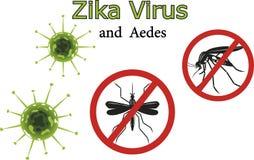 Virus y mosquitos de Zika Imágenes de archivo libres de regalías