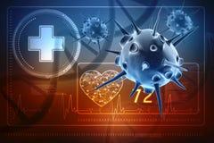 Virus-Zelle lokalisiert im medizinischen Hintergrund 3d übertragen vektor abbildung