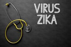Virus Zika som är handskriven på den svart tavlan illustration 3d Royaltyfria Bilder