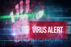 Virusalarm gegen blaues Technologiedesign mit binär Code Stockfotografie