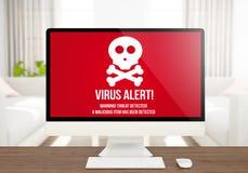 Virusalarm-Schirmcomputer stockfotos