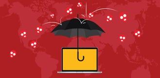 Virusattackskydd med paraplyet och skallen kraschar royaltyfri illustrationer