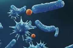 virusbackgorund för illustration 3D Virus influensa, hepatit, HJÄLPMEDEL, E coli kolonbacill Begrepp av vetenskap och royaltyfri illustrationer