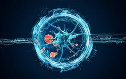 Virusceller under ett mikroskop Stock Illustrationer