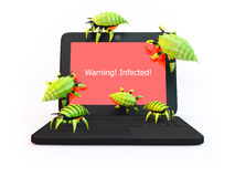 Viruses attack laptop. Green viruses attack laptop isolated on white background Royalty Free Stock Image