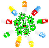Viruses are attacked by vitamins Stock Images