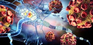 Viruses attacking nerve cells royalty free illustration