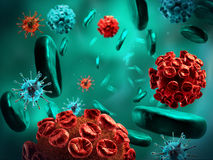 Viruses and blood cells. Royalty Free Stock Images