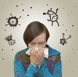 Viruses flying around sneezing women. Drawn viruses flying around sneezing women Stock Photo