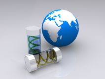Viruses in tubes with globe Stock Photo