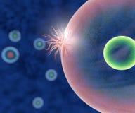 Viruset anfaller sunda celler stock illustrationer