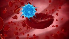 Viruset bakterier, bakterie dödar blodcellen, eritrocite MEDICINSKT begrepp HUD stock illustrationer