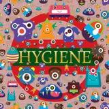Viruset berättar hygien den viktiga sömlösa modellen royaltyfri illustrationer