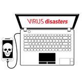 Virusmobile. A virus computer and smartphone emergency service. In black and white vector format Royalty Free Stock Image