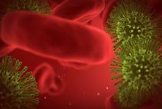 Virusnahaufnahme unter Mikroskop Stockfotografie