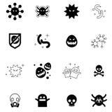 Viruspictogrammen geplaatst vectorillustratie Stock Afbeelding