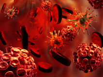 Virussen en bloedcellen Stock Fotografie