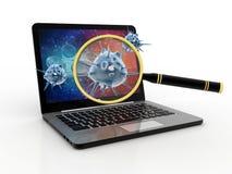 Virusupptäckt, förstoringsglasscanningvirus med datoren 3d framför Fotografering för Bildbyråer