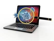 Virusupptäckt, förstoringsglasscanningvirus med datoren 3d framför Arkivbild
