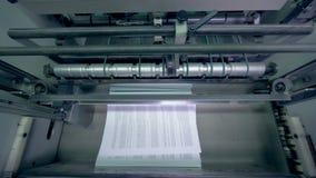 Viruta de papel en un transportador, visión superior metrajes
