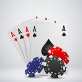 Viruta y tarjetas para el póker Fotografía de archivo