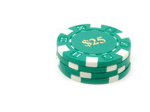 Virutas $25 del casino. Fotografía de archivo libre de regalías