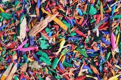 Virutas coloridas del lápiz del primer Fotografía de archivo libre de regalías
