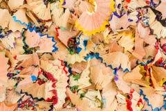 Virutas de lápices coloreados Imagen de archivo libre de regalías