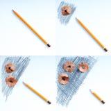 Virutas de los sacapuntas de lápiz en el Libro Blanco De nuevo a escuela Fotos de archivo