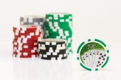 Virutas de póker Imágenes de archivo libres de regalías