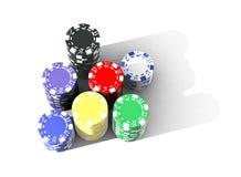 Virutas de póker multicoloras Imágenes de archivo libres de regalías