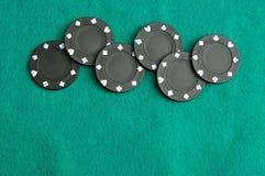 Virutas de póker negras Imagenes de archivo