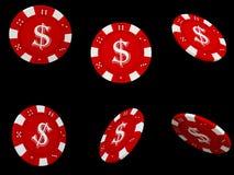 Virutas de póker rojas aisladas Fotos de archivo
