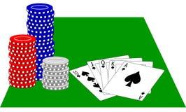 Virutas de póker y rubor real Foto de archivo