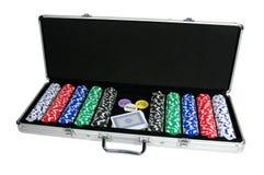 Virutas de póker y tarjetas que juegan Fotografía de archivo