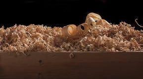Virutas de torneado de madera foto de archivo libre de regalías