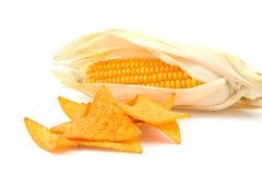 Virutas de tortilla con maíz de los mais Imagen de archivo