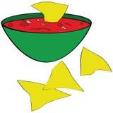 Virutas de tortilla con salsa stock de ilustración