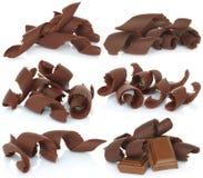 Virutas del chocolate fijadas Fotos de archivo libres de regalías