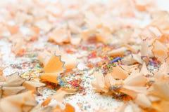Virutas del creyón en el fondo blanco Imágenes de archivo libres de regalías