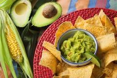 Virutas del Guacamole y del nacho Foto de archivo libre de regalías