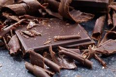 Virutas oscuras del chocolate fotografía de archivo