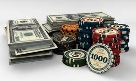Virutas y dinero del casino Foto de archivo