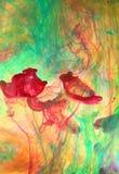 Virvel färgpulver i flytande arkivfoto