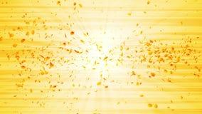 Virvel från gula sidor Spiral skinande partikel av säsongsbetonade sidor Dansa bladet Färgrik animering för naturtunnelögla lager videofilmer