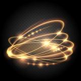 Virvel tända linjer abstrakt begreppeffekter För cirkelljus för vektor guld- effekt för glitz på genomskinlig bakgrund royaltyfri illustrationer